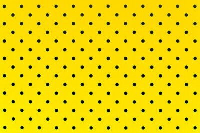 Vinilo Patrón de papel tapiz puntos negros en fondo de color amarillo