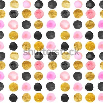 Vinilo Patrón de puntos de oro y rosa. dibujado a mano acuarela