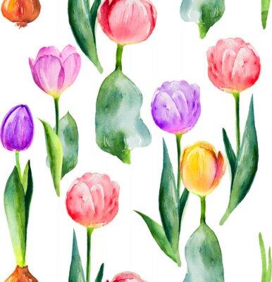 Vinilo patrón de tulipán transparente sobre fondo blanco
