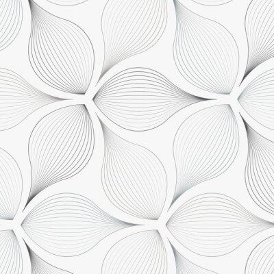 Vinilo patrón de vector lineal, repitiendo hojas de flores abstractas, línea gris de hoja o flor, floral. El diseño gráfico limpio para tela, evento, papel tapiz, etc. está en el panel de muestras.