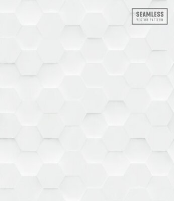 Vinilo Patrón de vector transparente poligonal hexágono 3D, fondo blanco geométrico de negocios