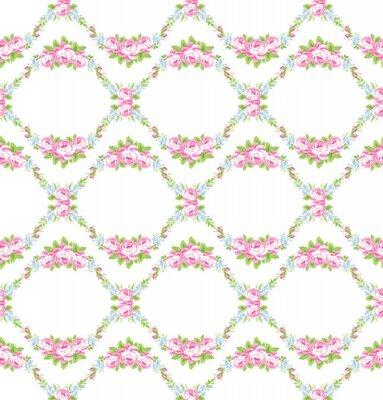 Vinilo Patrón floral con rosas rosas de jardín
