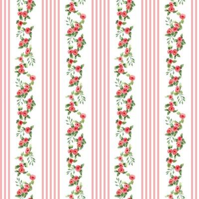 Vinilo Patrón floral estilo retro con rayas