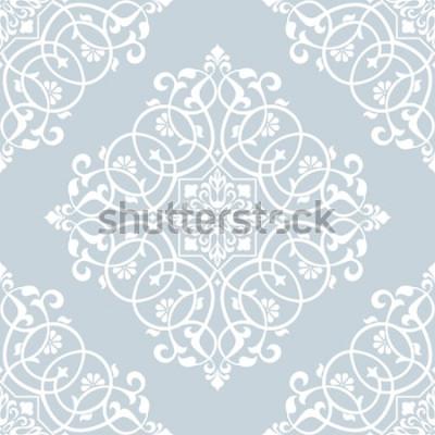 Vinilo Patrón floral. Papel pintado barroco, damasco. Fondo de vector transparente Adorno azul y blanco.