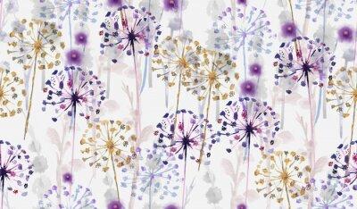 Vinilo Patrón floral salvaje acuarela transparente en estilo de pintura a mano, papel tapiz de flores delicadas
