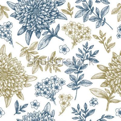 Vinilo Patrón floral sin elementos Elementos florales de estilo lineal. Diseño de tela vintage. Ilustración vectorial