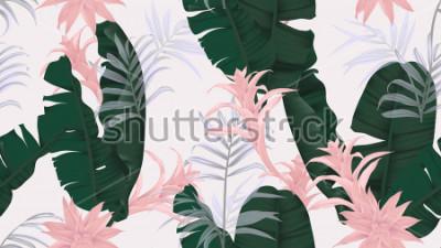 Vinilo Patrón floral sin fisuras, hojas de plátano verde, planta de Bromeliaceae rosa y hojas de palma sobre fondo gris claro, tema de pastel vintage.