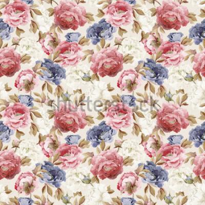 Vinilo Patrón floral transparente con peonías, acuarela
