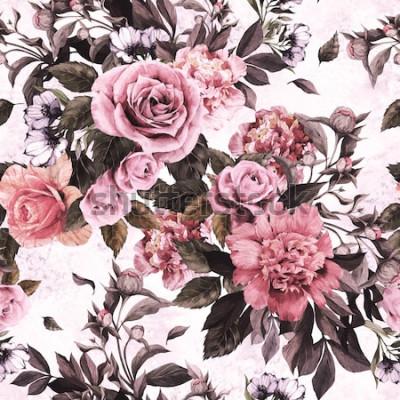 Vinilo Patrón floral transparente con rosas rosadas y peonías sobre fondo de acuarela.