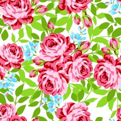 Vinilo Patrón floral transparente con rosas rosas de jardín