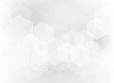 Vinilo Patrón geométrico abstracto de la capa del hexágono en el fondo blanco y gris.