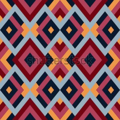 Vinilo Patrón geométrico de vector transparente con triángulos y cuadrados. Fondo abstracto sin fin para el diseño en colores rojo, azul y amarillo