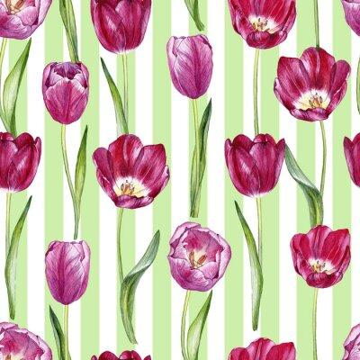 Vinilo patron inconsútil acuarela dibujada a mano con tulipanes