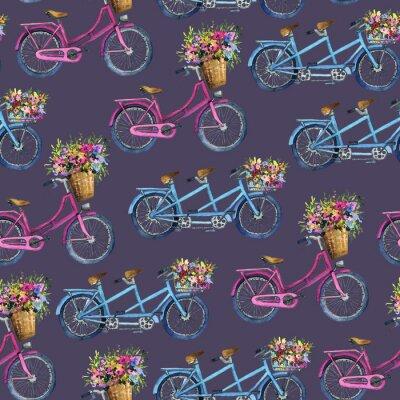 Vinilo Patrón sin costuras con bicicletas y flores