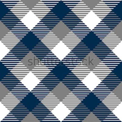 Vinilo Patrón sin costuras de tela de cuadros a cuadros en azul gris y blanco, vector