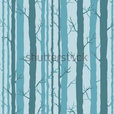 Vinilo Patrón sin costuras decorativo con troncos de árboles. Ornamento sin fin con tallos de árboles de color turquesa oscuro sobre fondo azul. Elegante fondo de árbol para envolver, papel tapiz.