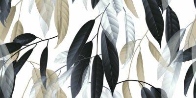 Vinilo Patrón sin costuras, hojas largas negras, doradas y blancas sobre fondo gris claro