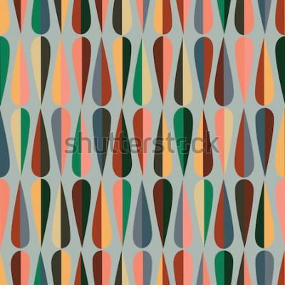 Vinilo Patrón sin costuras retro de estilo moderno de mediados de siglo con formas de gota en varios tonos de color, fondo abstracto repetitivo para todos los propósitos web e impresión.