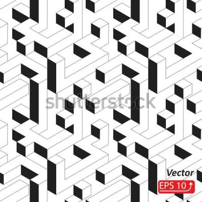 Vinilo Patrón sin fisuras con casas, edificios, pueblo, ciudad en estilo isométrico. Ilustración de vector de fondo 3D abstracto blanco y negro