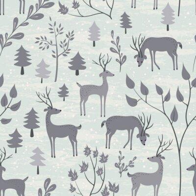 Vinilo Patrón sin fisuras con ciervos en el bosque de invierno