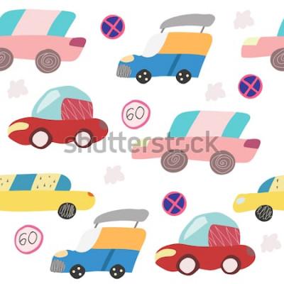 Vinilo Patrón sin fisuras con coche dibujado a mano en la carretera. Estilo escandinavo para niños. Ilustración de dibujos animados