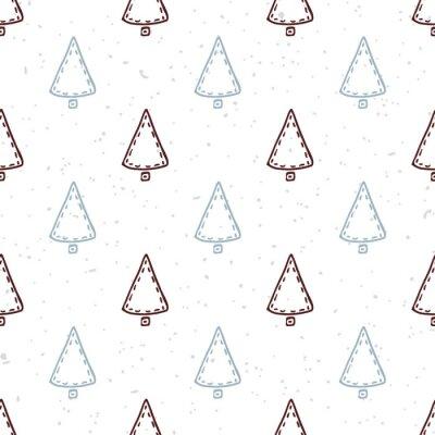 Vinilo Patrón sin fisuras con el árbol de Navidad dibujado a mano. Fondo del día de fiesta del Doodle
