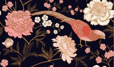 Vinilo Patrón sin fisuras con faisanes de aves exóticas y flores de peonía.