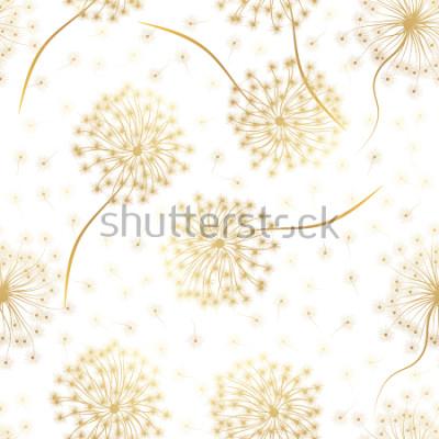 Vinilo Patrón sin fisuras con flores diente de león. Ilustración vectorial