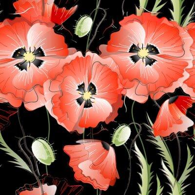 Vinilo Patrón sin fisuras con flores rojas de la amapola
