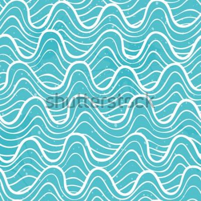 Vinilo Patrón sin fisuras con las olas del mar en un estilo decorativo. Ilustración vectorial