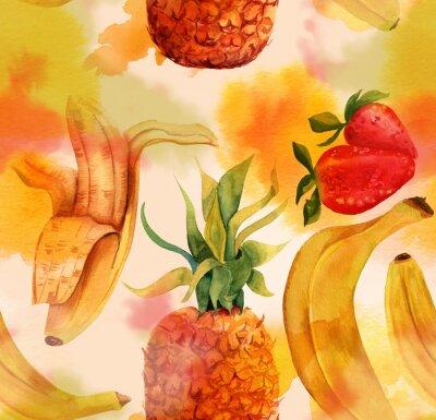 Vinilo Patrón sin fisuras con los plátanos brillantes, fresas y una piña