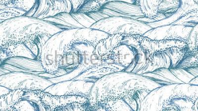 Vinilo Patrón sin fisuras con mano dibujado las olas del mar en el estilo de dibujo. Vector de fondo sin fin en colores azules.