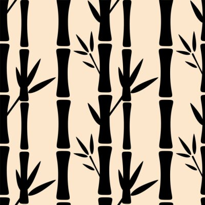 Vinilo Patrón sin fisuras con siluetas de árboles de bambú negro