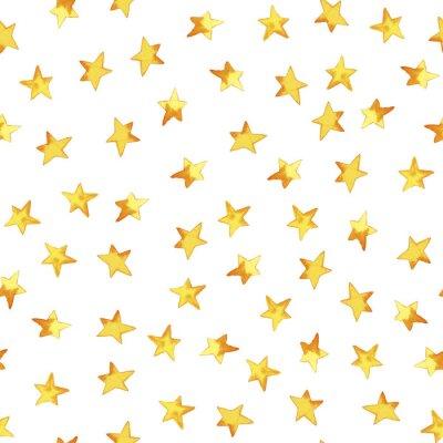 Vinilo Patrón sin fisuras de dibujo a mano estrellas simples amarillas en estilo infantil de dibujos animados sobre fondo blanco