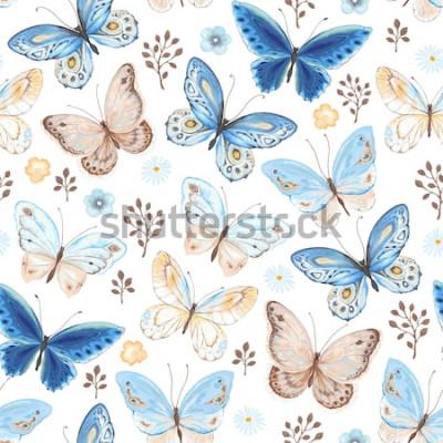 Vinilo Patrón sin fisuras de volar mariposas azul, amarillo y marrón. Ilustración de vector de estilo vintage sobre fondo blanco.