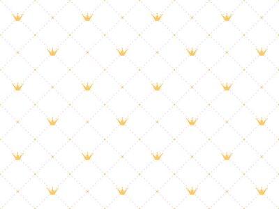 Vinilo Patrón sin fisuras en estilo retro con una corona de oro y lunares rosas sobre fondo blanco. Lindo fondo de pantalla para pequeñas princesas.