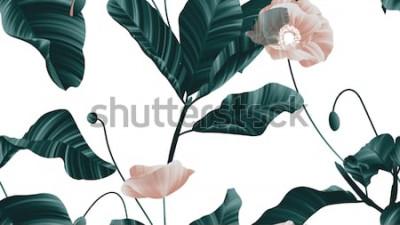 Vinilo Patrón sin fisuras, flores de amapola marrón con hojas verdes sobre fondo blanco.