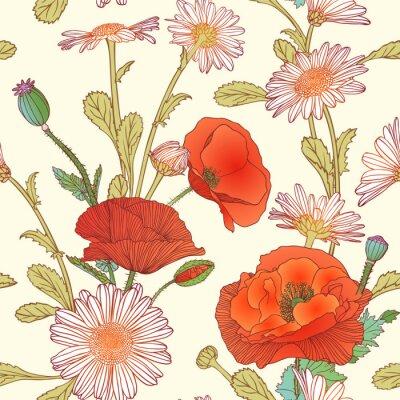 Vinilo Patrón sin fisuras - flores de manzanilla y amapola