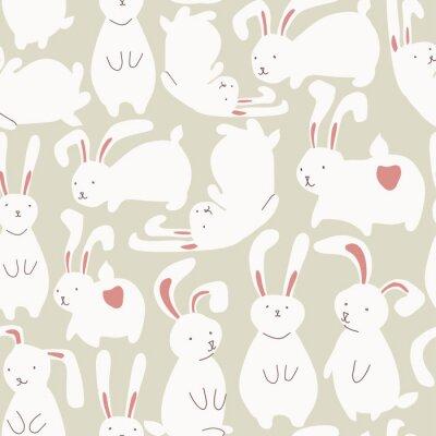 Vinilo Patrón transparente con conejos blancos lindos