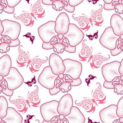 Vinilo Patrón transparente con polilla punteada de color rosa Orquídea o Phalaenopsis y mariposas ornamentadas sobre el fondo blanco. Fondo floral en estilo de puntowork.