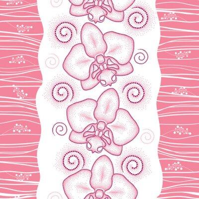 Vinilo Patrón transparente con polilla punteada de color rosa Orquídea o Phalaenopsis y remolinos sobre el fondo blanco. Fondo floral en estilo de puntowork.