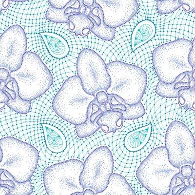 Vinilo Patrón transparente con polilla punteada Orquídea o Phalaenopsis en violeta y turquesa encaje decorativo sobre el fondo blanco. Fondo floral en estilo de puntowork.