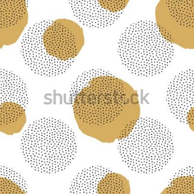 Vinilo Patrón transparente de vector con elementos punteados redondos y círculos dorados. Fondo de moda de memphis.