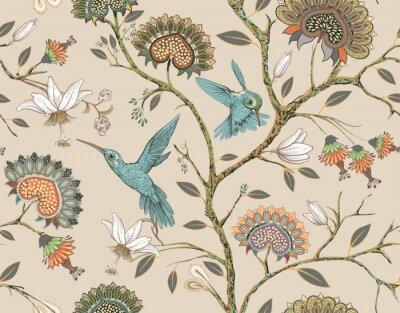 Vinilo Patrón transparente de vector con estilizadas flores y pájaros. Jardín de flores con colibríes y plantas. Papel tapiz floral claro. Diseño para tela, textil, papel tapiz, cubierta, papel de regalo.