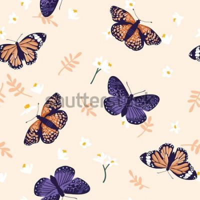 Vinilo Patrón transparente de vector con mariposas brillantes. Diseño de textura dibujado a mano