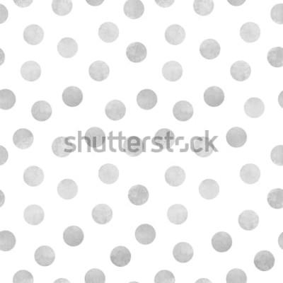 Vinilo Patrón transparente de vector de círculos grises de acuarela sobre un fondo blanco
