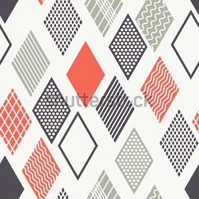 Vinilo Patrón transparente de vector Textura con estilo moderno. Adornos geométricos con rombos de colores