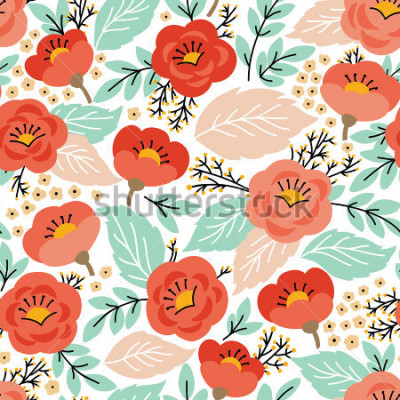 Vinilo Patrón transparente elegante con flores. Se puede usar para fondos de escritorio o marcos para colgar en la pared o póster, para rellenos de patrones, texturas de superficies, fondos de páginas web, t
