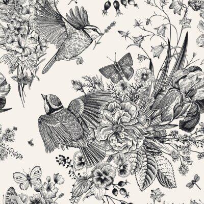 Vinilo Patrones florales sin fisuras. Tetas, flores, mariposas. Vector ilustración botánica vintage. En blanco y negro