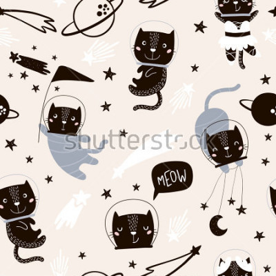 Vinilo Patrones infantiles sin fisuras con lindos gatos astronautas. Fondo de la guardería creativa. Perfecto para el diseño de niños, tela, envoltura, papel tapiz, textil, ropa
